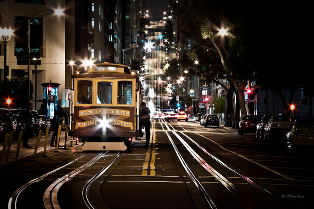 Cable Car in California St - San Francisco - Night Photography