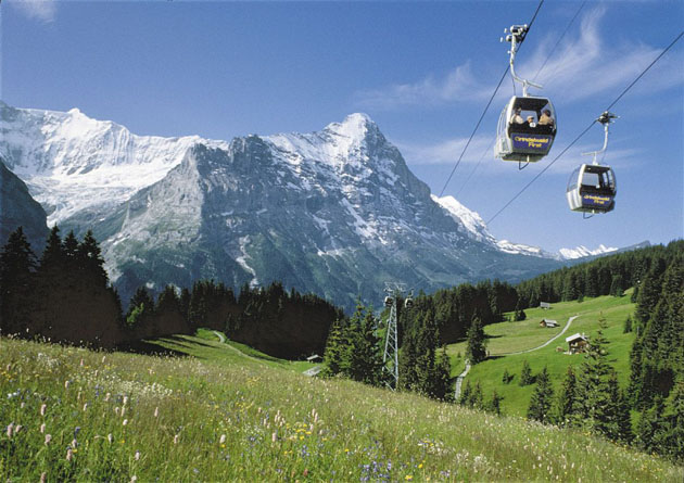 Cable cars over grindelwald switzerland