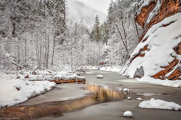 Sedona's Oak Creek Canyon - Red Rock Winter by Valerie Millett