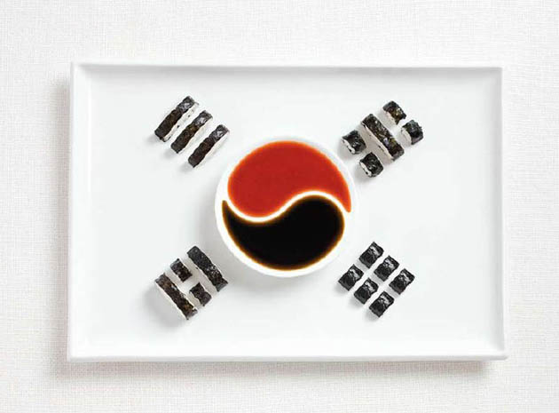 south-korea-amazing art of creating national flags with food items