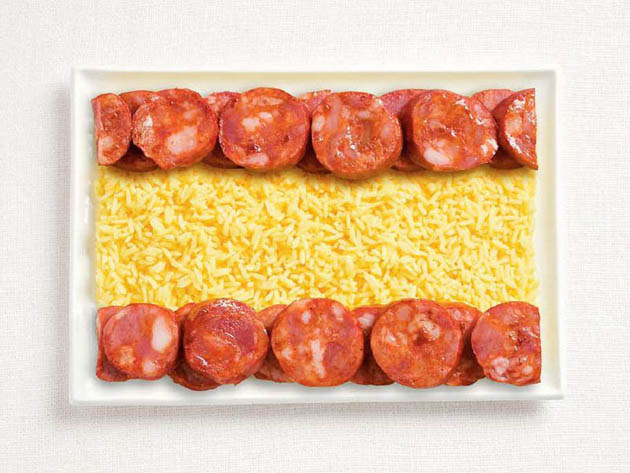 spain-amazing art of creating national flags with food items