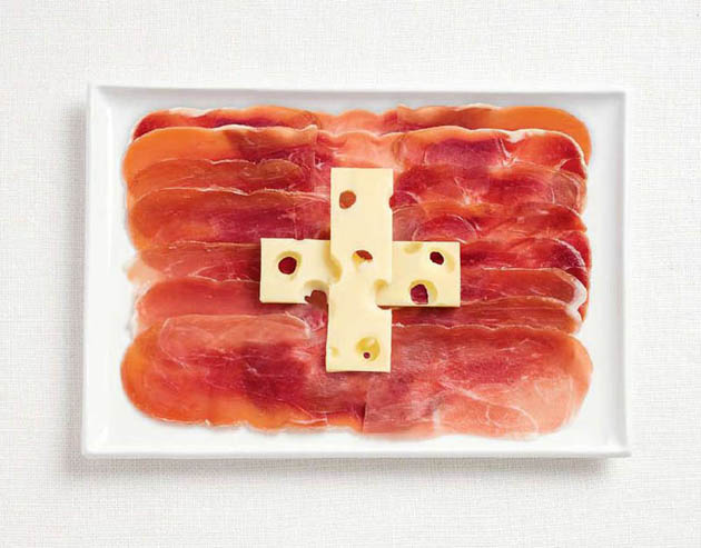 switzerland-amazing art of creating national flags with food items
