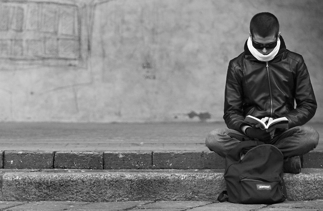 Man Reading | Black and White Photography | Italy Gallery