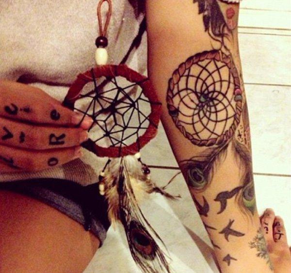 50+ Striking Feminine Dream-catcher Tattoos-great (37)