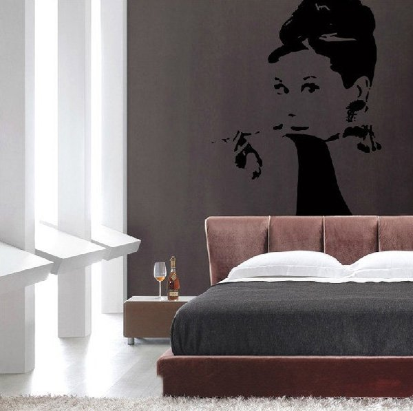 Beautiful Wall Design Ideas-Audrey-Hepburn-wall-decal