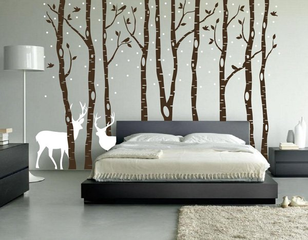 Beautiful Wall Design Ideas-Birch-Tree-Wall-Decal-Forest-with-Snow-Birds-and-Deer-Vinyl-Sticker-Removable