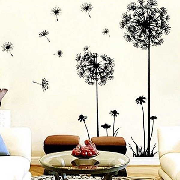 beautiful wall design ideas coromose creative dandelion removable mural pvc - Wall Art Design Ideas