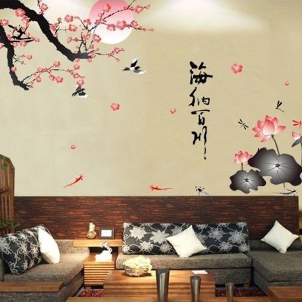 Beautiful Wall Design Ideas-GEN74444-All-River-Into-the-Sea-Plum-Blossom-Lotus-Flowers-Removable-Wall-Sticker