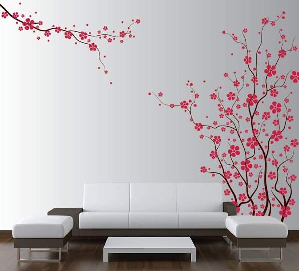 Beautiful Wall Design Ideas-Large-Wall-Tree-Nursery-Decal-Japanese-Magnolia-Cherry-Blossom-Flowers-Branch