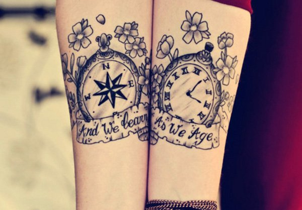Best Matching Tattoo Ideas-Compass-and-watch-matching-tattoos
