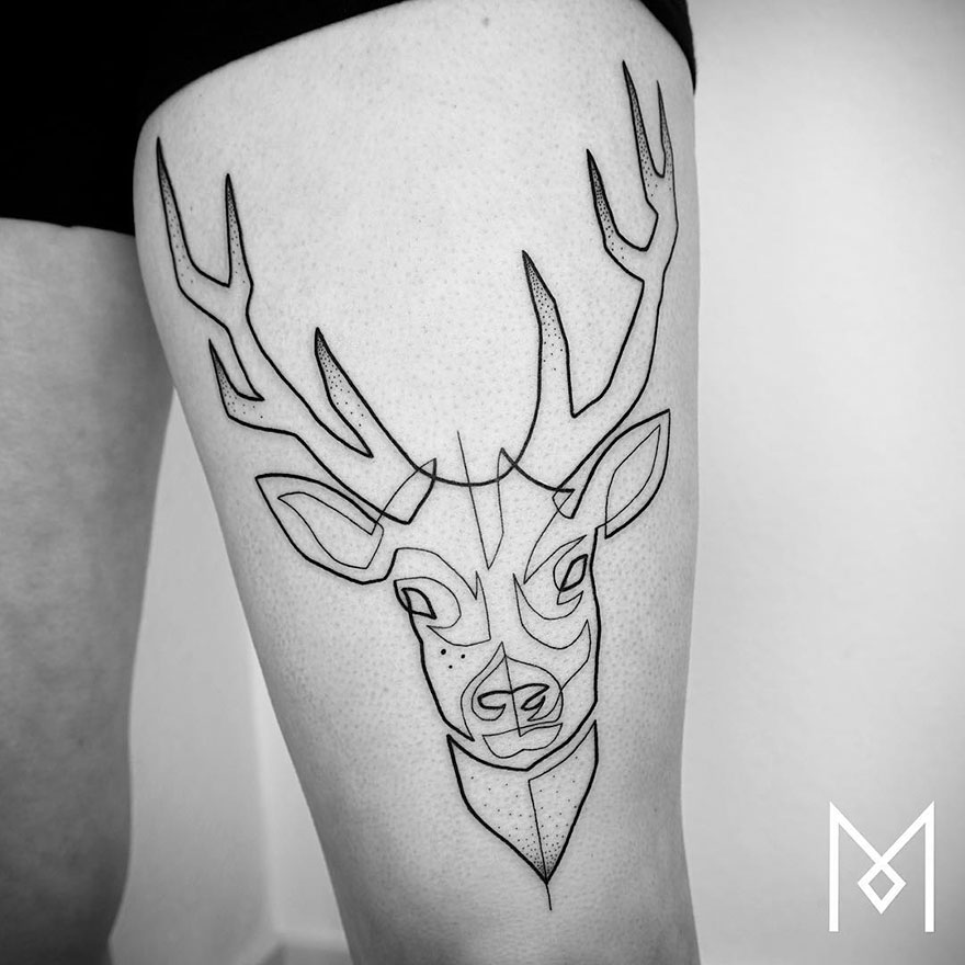 Single Line Tattoos By Iranian-German Artist (11)