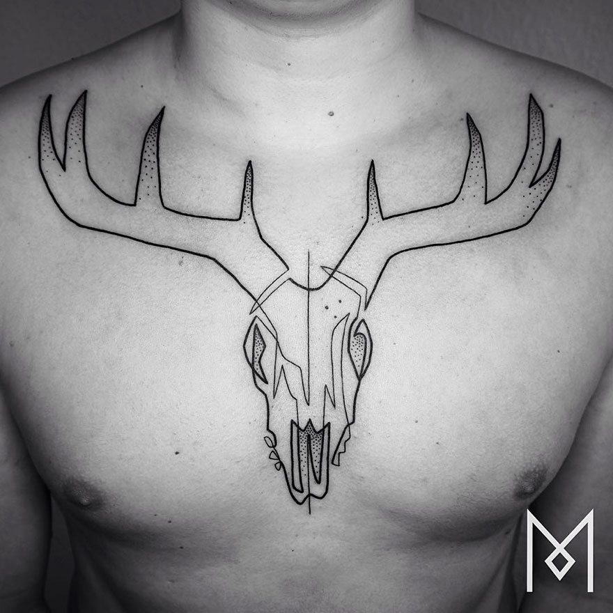 Single Line Tattoos By Iranian-German Artist (2)