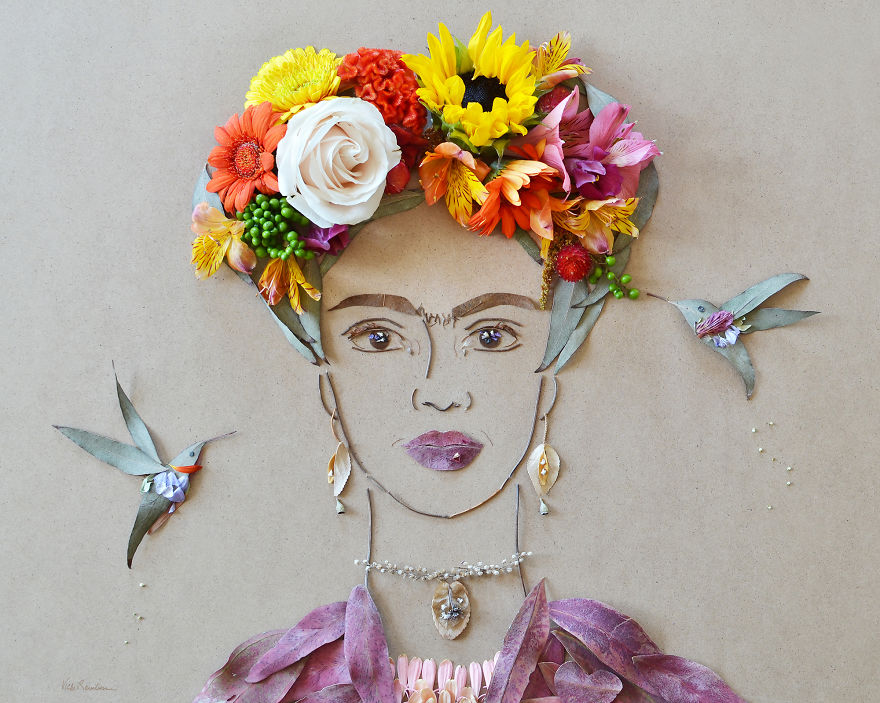 Create Intricate Portraits Out Of Mother Nature Using Twigs And Flowers (1)