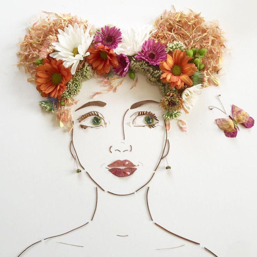 Create Intricate Portraits Out Of Mother Nature Using Twigs And Flowers (13)