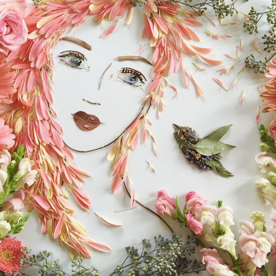 Create Intricate Portraits Out Of Mother Nature Using Twigs And Flowers (16)