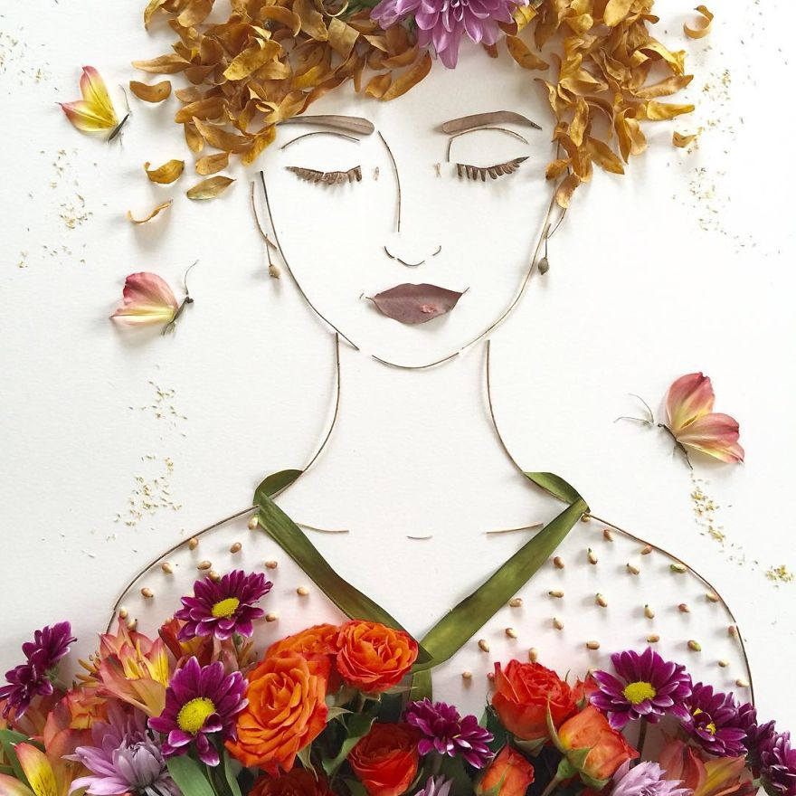 Create Intricate Portraits Out Of Mother Nature Using Twigs And Flowers (17)