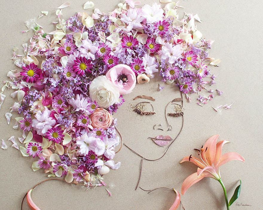 Create Intricate Portraits Out Of Mother Nature Using Twigs And Flowers (19)