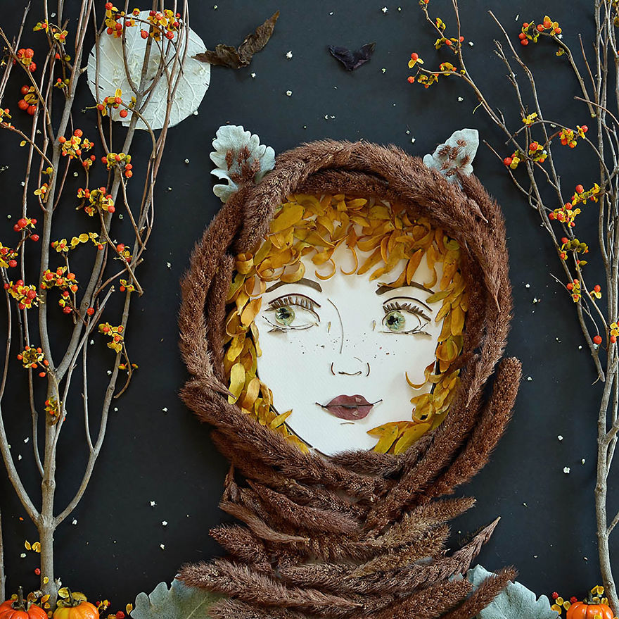 Create Intricate Portraits Out Of Mother Nature Using Twigs And Flowers (2)