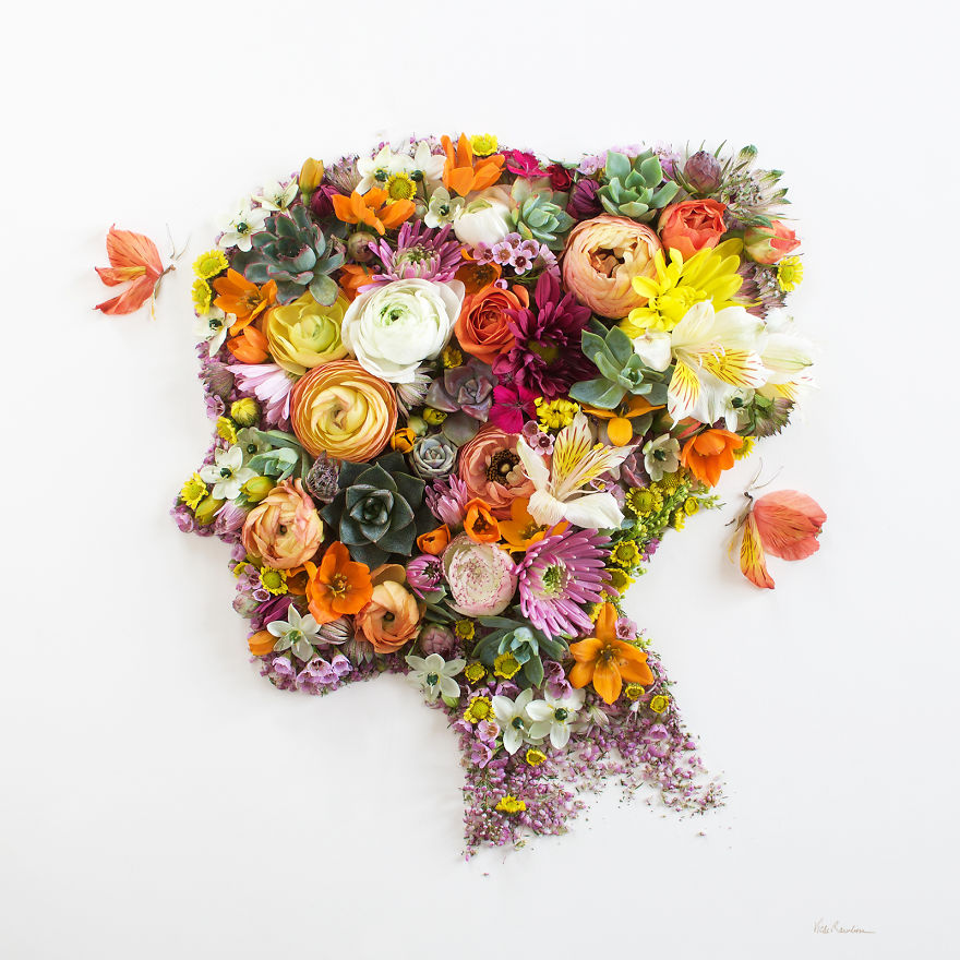 Create Intricate Portraits Out Of Mother Nature Using Twigs And Flowers (3)