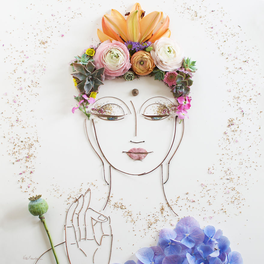 Create Intricate Portraits Out Of Mother Nature Using Twigs And Flowers (6)