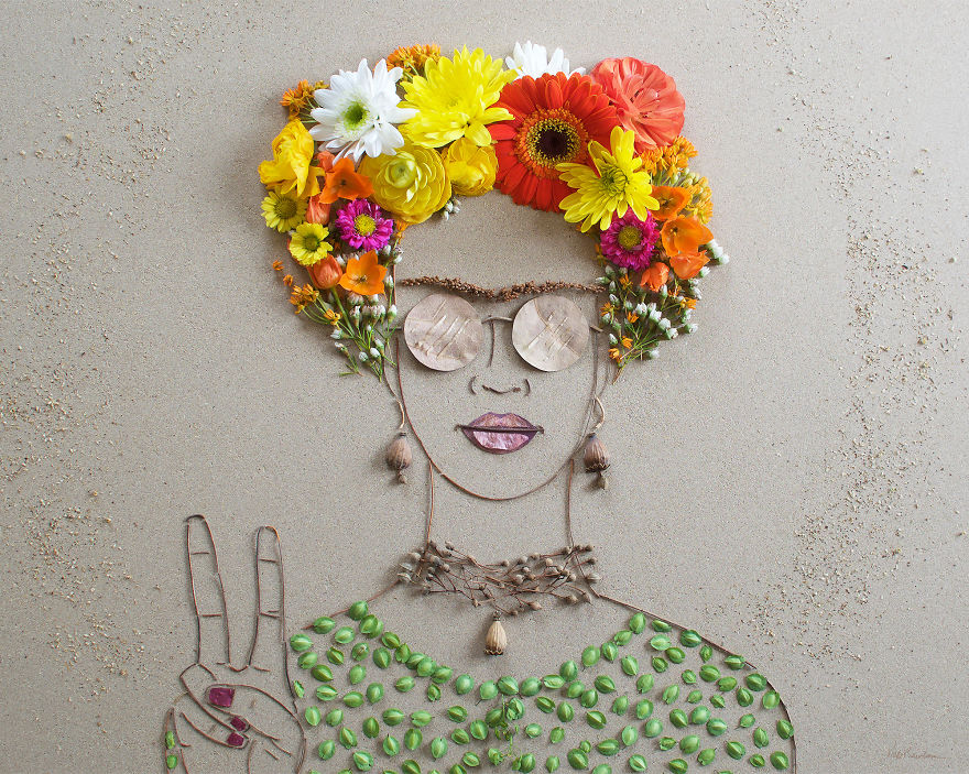 Create Intricate Portraits Out Of Mother Nature Using Twigs And Flowers (7)