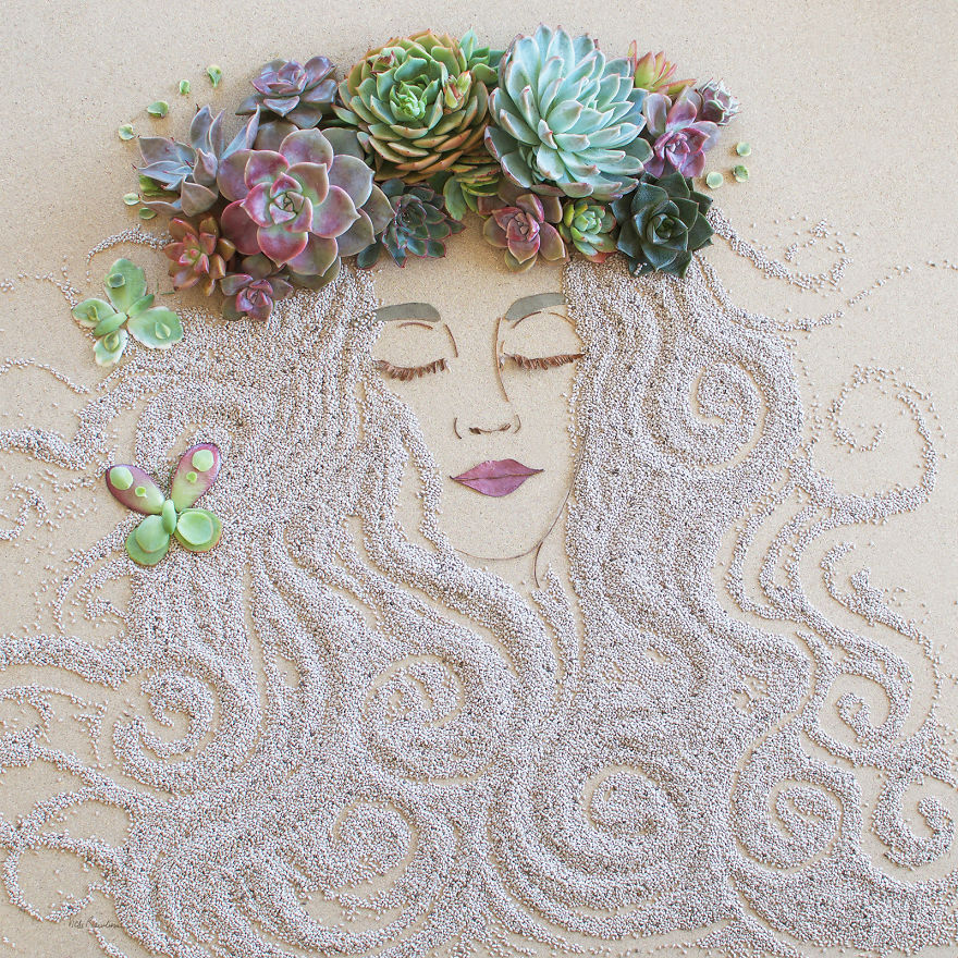 Create Intricate Portraits Out Of Mother Nature Using Twigs And Flowers (9)