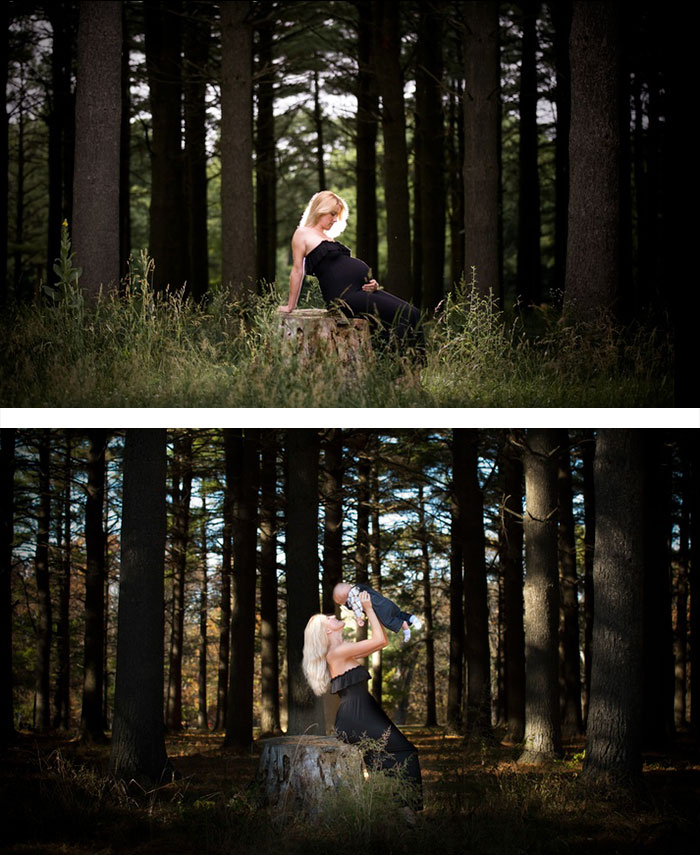 pregnancy photography before and after baby photoshoot