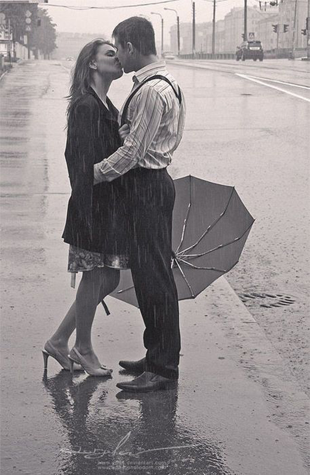 Cute Romantic Couples Black And White Photography In Rain (14)