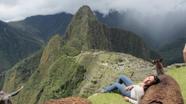 Against-a-llama-in-Machu-Picchu