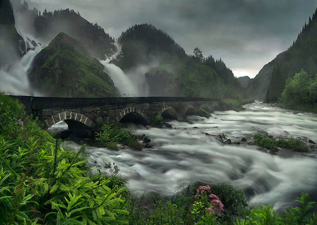 Låtefossen Waterfall, Norway
