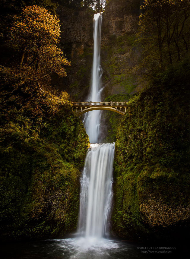 Waterfalls with bridge
