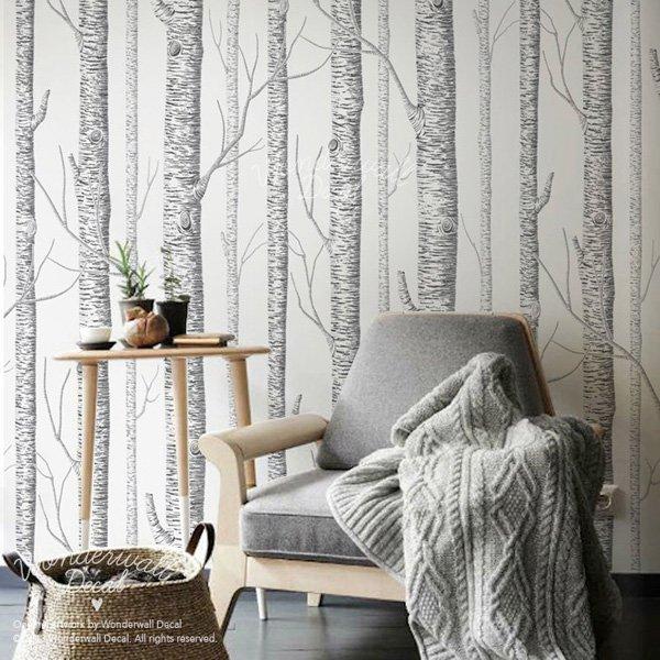 Beautiful Wall Design Ideas-Birch-Tree-Peel-Stick-Wallpaper
