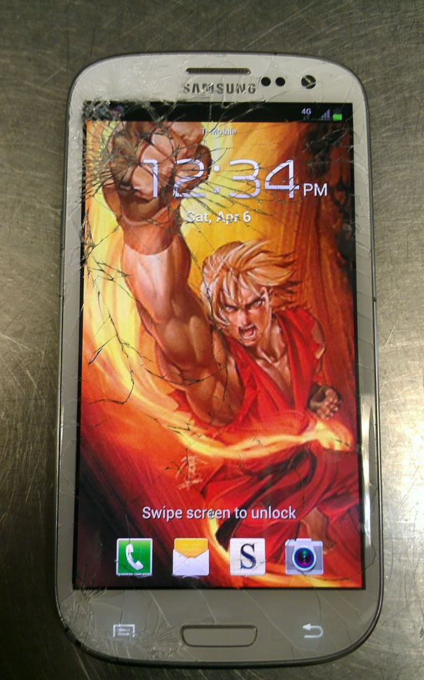 cracked phone screen funny solution