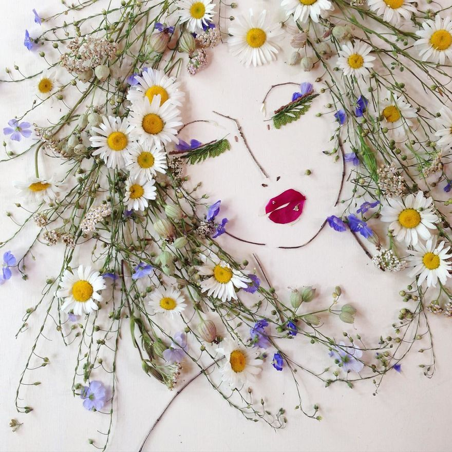 Create Intricate Portraits Out Of Mother Nature Using Twigs And Flowers (14)