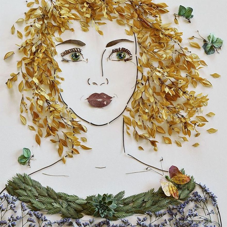 Create Intricate Portraits Out Of Mother Nature Using Twigs And Flowers (5)