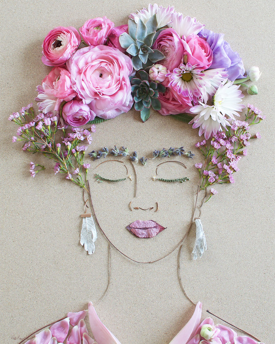 Create Intricate Portraits Out Of Mother Nature Using Twigs And Flowers (8)