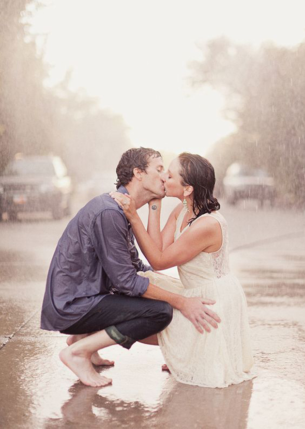Romantic images of lovers in rain